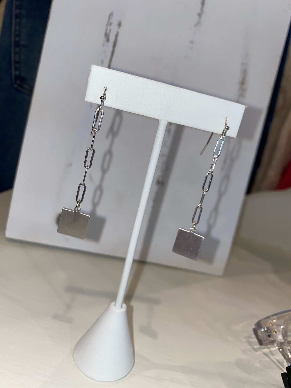 Matte Silver Square Dangle Earrings