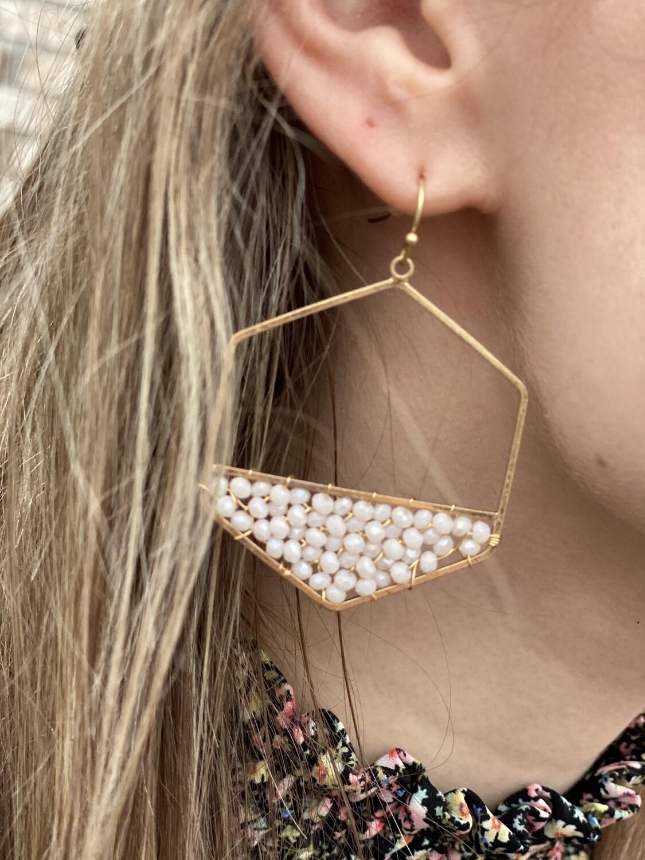 WH Natural Crystal Hexagon Drop Earrings