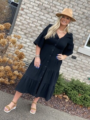 Black V Neck Midi Dress