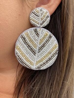 White & Gold Beaded Circle Earrings