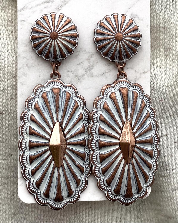 Bronze & White Earrings