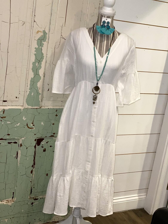 White V Neck Midi Dress
