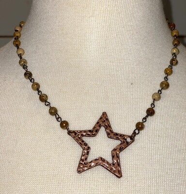 Brown Mineral Bead Star Necklace
