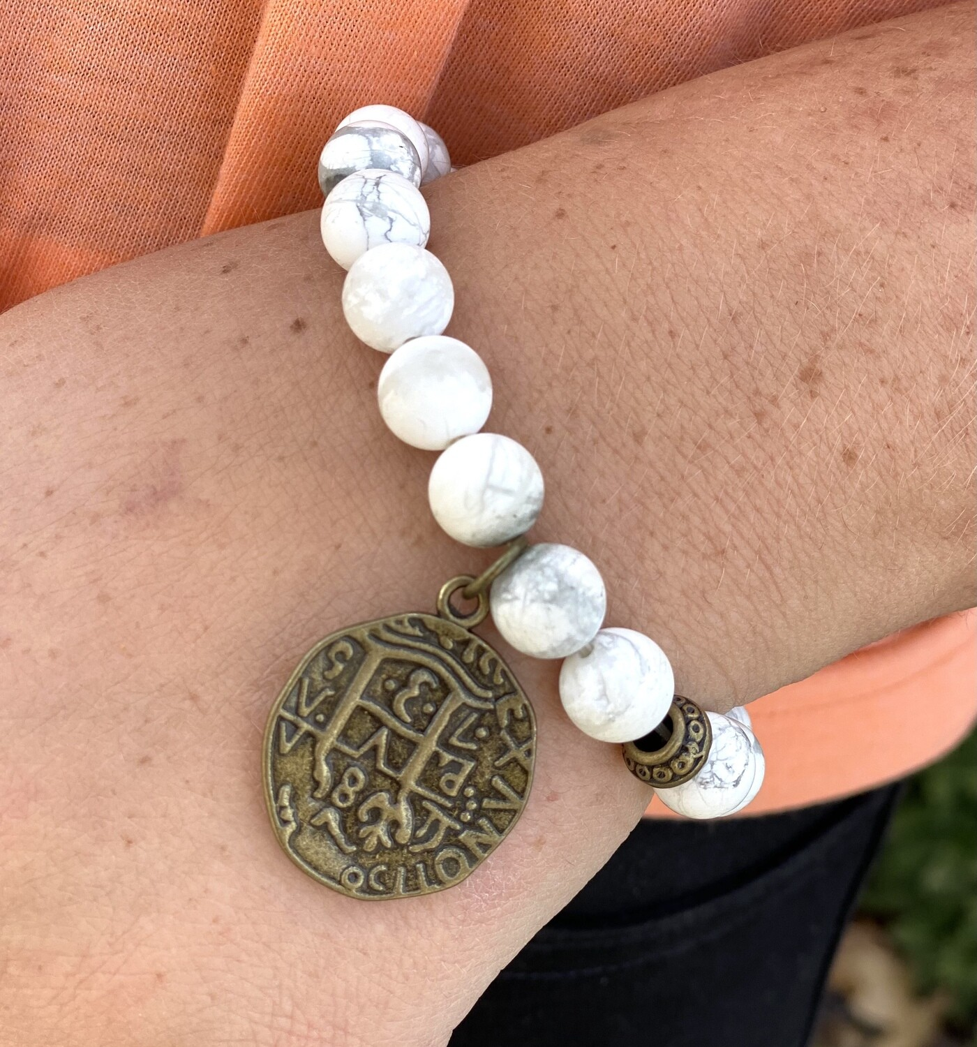 White Beaded Medallion Bracelet