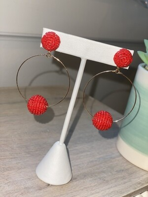 WH Seed Bead with Ball Earrings