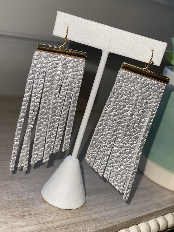 Silver Bar Fringe Earrings