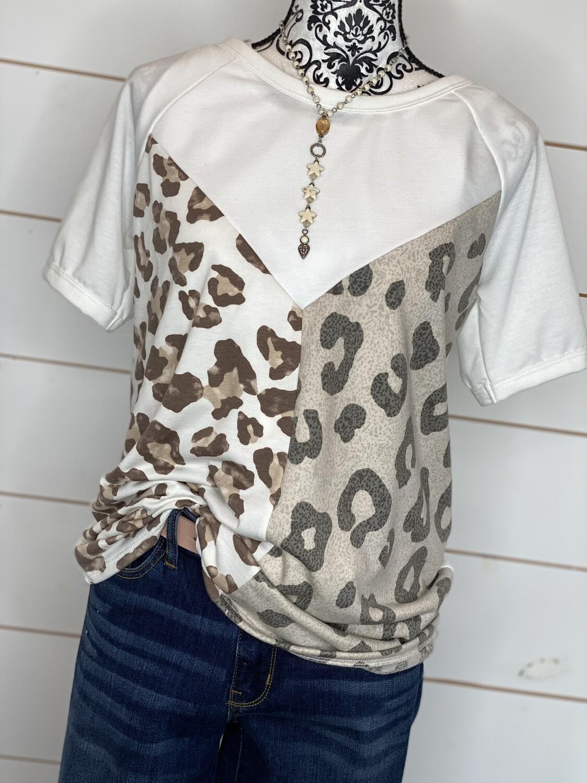 Tan & Cheetah Color Block Top
