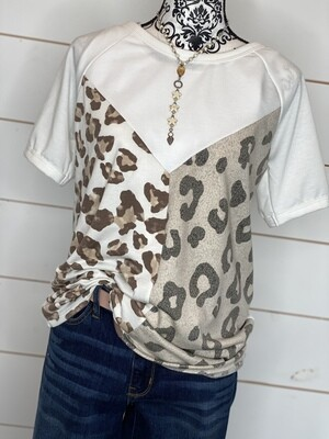 Tan & Cheetah Color Block Top