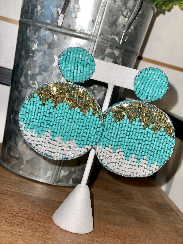 Turquoise Circle Beaded Earrings