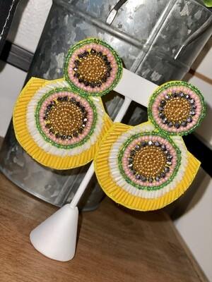 Yellow Mixed Bead Earrings