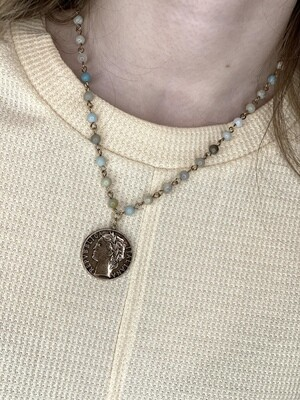 Mineral Bead & Coin Necklace