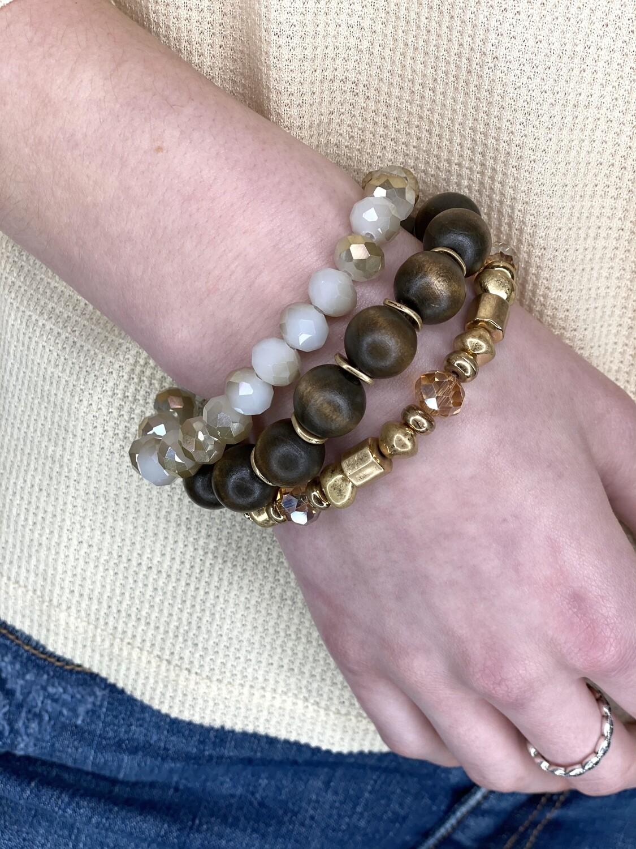 Brown Natural Stone Bracelet Set