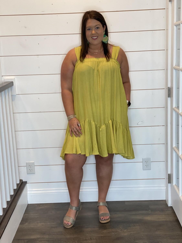 Lime Ruffled Mini Dress
