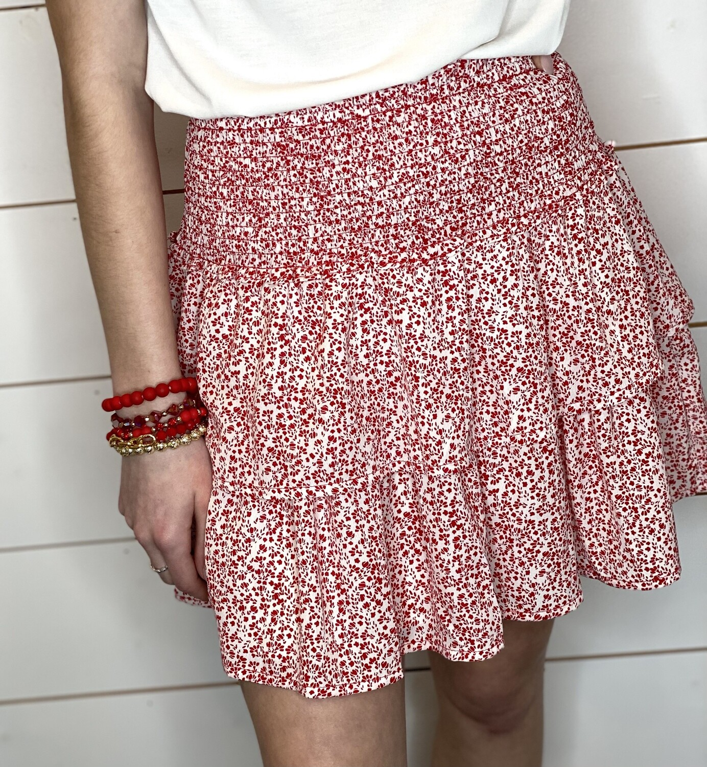 Red Floral Mini Skirt