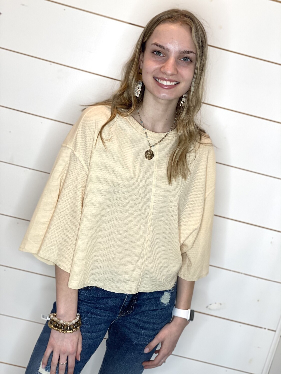 Sand Cropped Waffle Knit Top