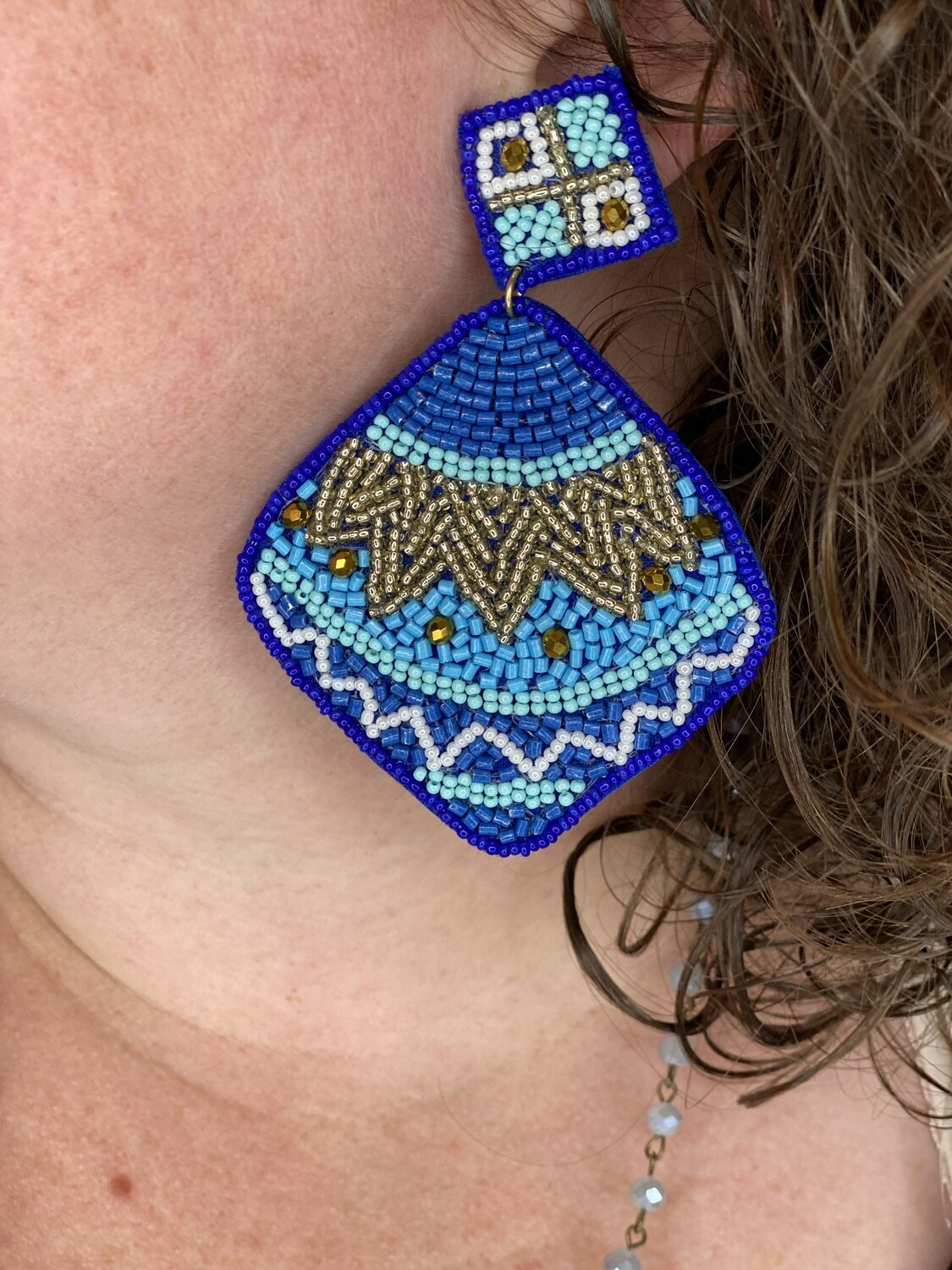 Blue Mixed Bead Statement Earrings