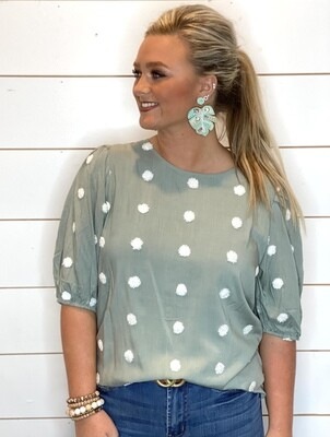 Sage Swiss Dot Top