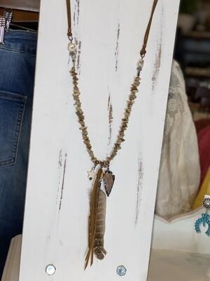 Jasper Stones & Arrowhead Charmed Necklace