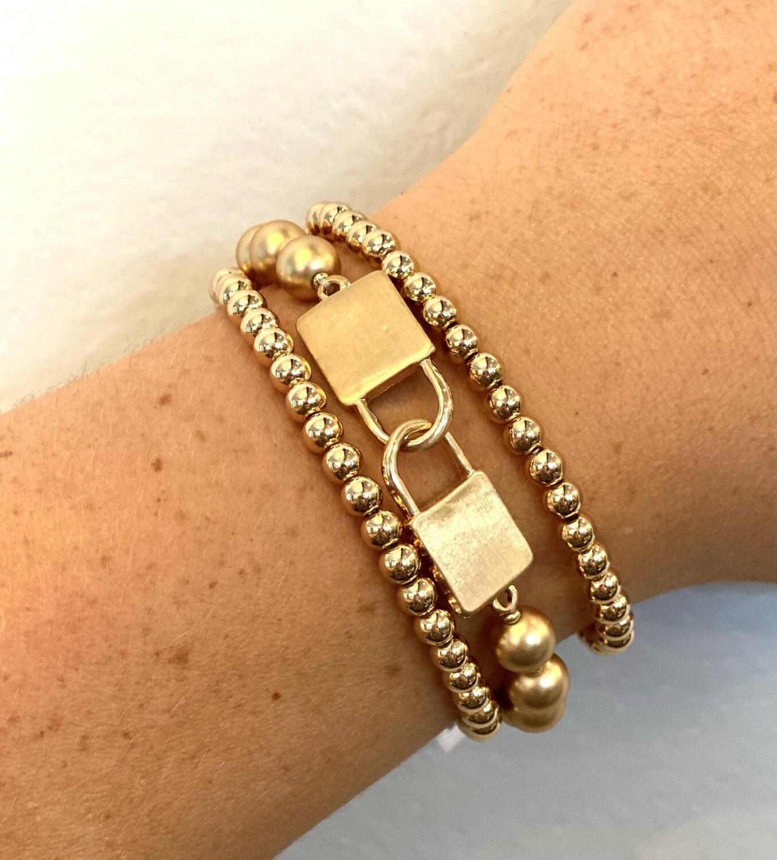 Gold Beaded Lock Bracelet Set