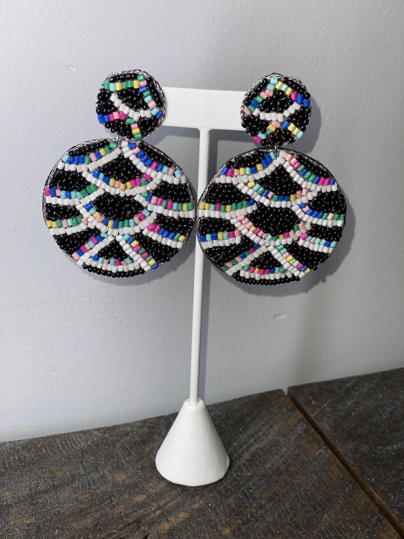 Black & Multi Colored Earrings