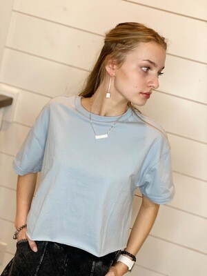 Smoke Blue Cropped Tee