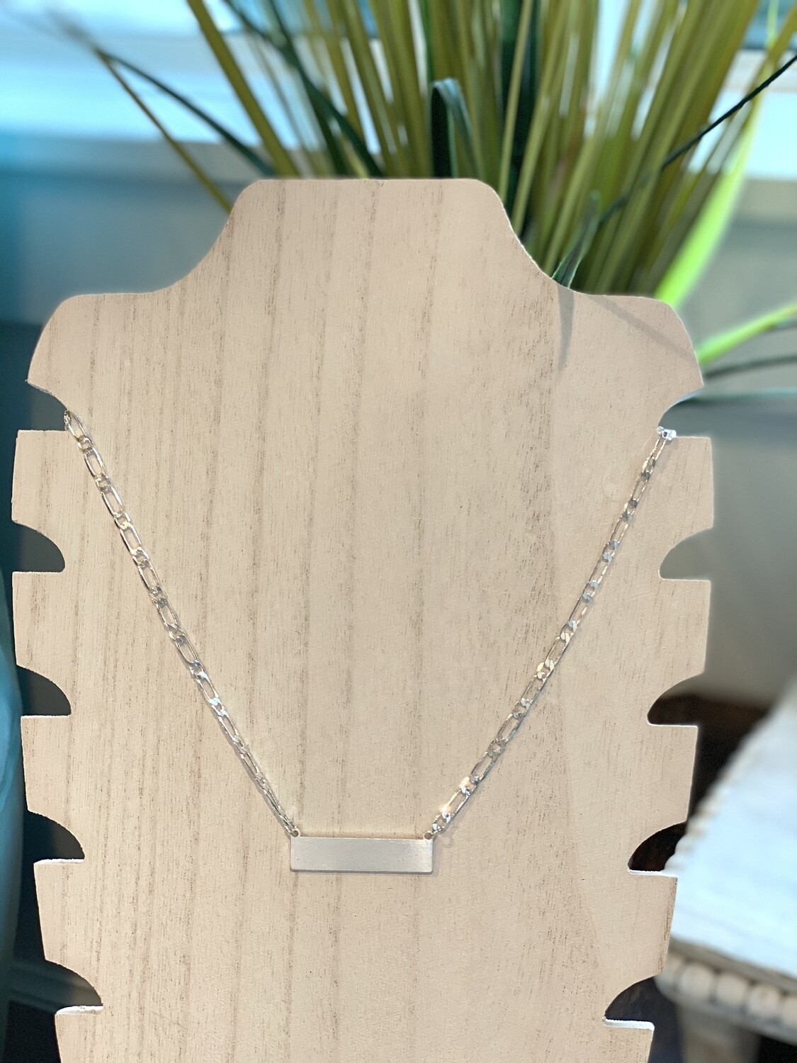 Silver Chain Bar Necklace