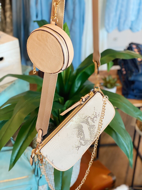 Light Peach Snake 2 Strap Handbag With Coin Purse