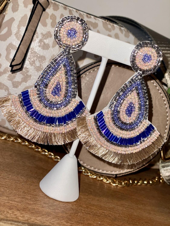 Royal Blue & Blush Earrings