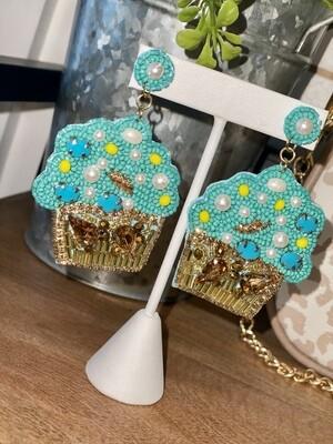 Beaded Cupcake Earrings