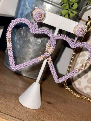 Lavender Beaded Heart Earrings