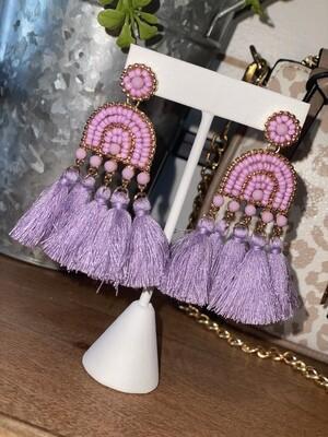 Lavender Beaded Tassel Earrings