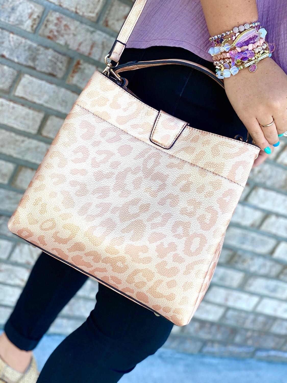 Metallic Leopard Handbag/Crossbody