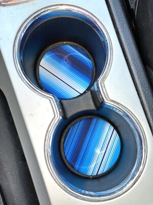Blue Serape Neoprene Car Coasters
