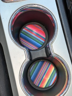 Pink Serape Neoprene Car Coaster