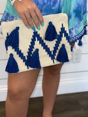 Blue Tassel Clutch
