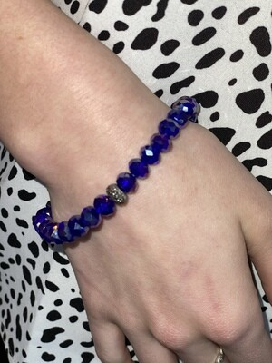 Small Royal Blue Sparkle Beaded Bracelet