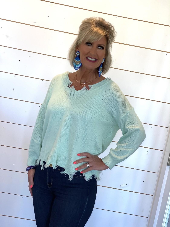 Mint Distressed Lightweight Sweater