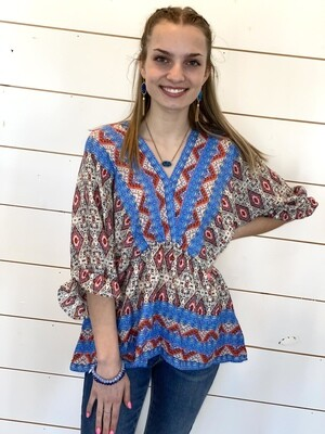 Blue Mixed Print V Neck Blouse