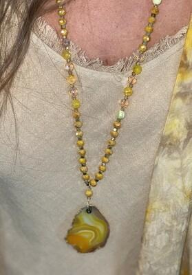 Yellow Stone Slab Beaded Necklace