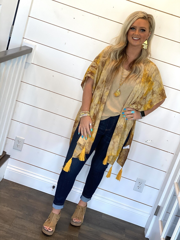 Golden Muted Tie Dye Kimono