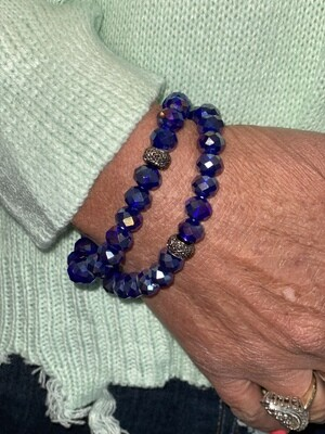 Royal Blue Sparkle Beaded Bracelet