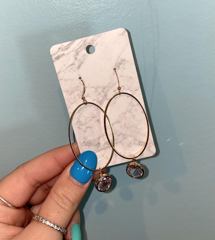 Gold Oval Jewel Dangle Earrings