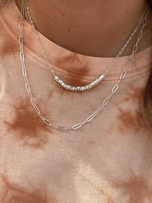 Matte Silver 2 Layer Bead Necklace