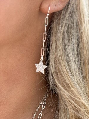 Silver Chain Sparkle Star Earrings