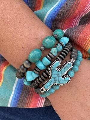 Turquoise Cactus Bracelet Set