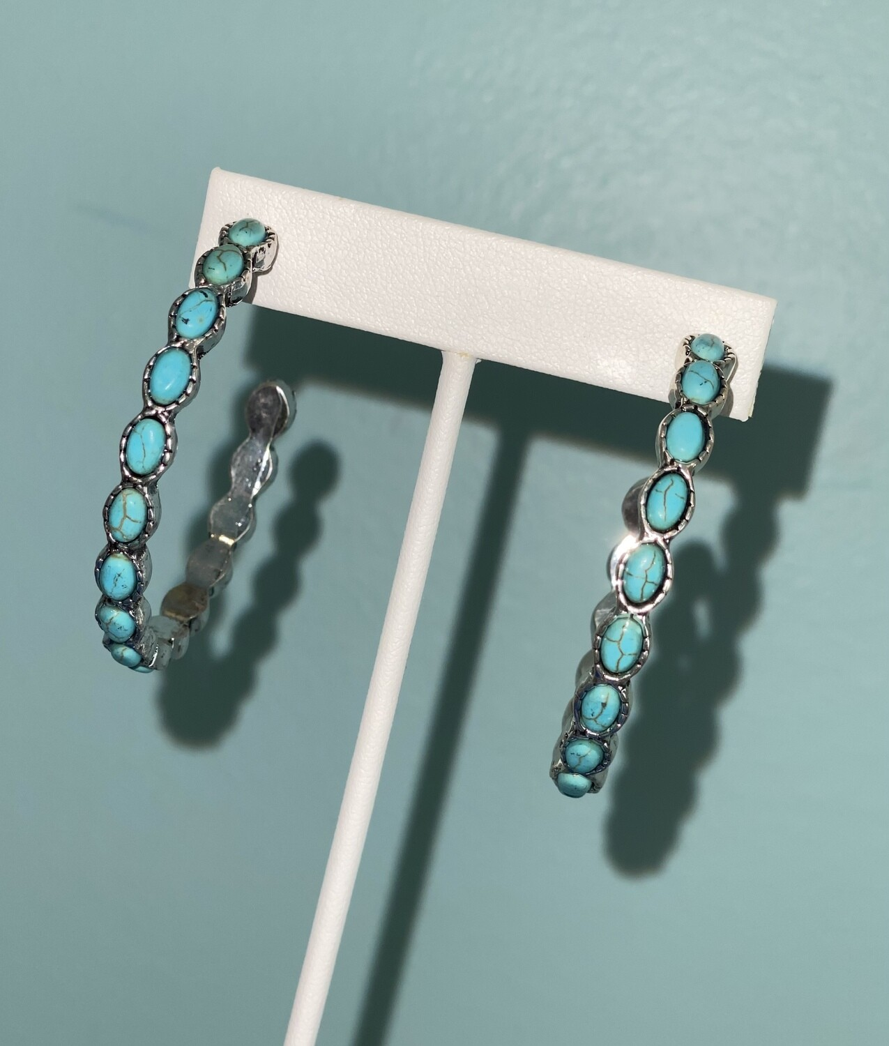 Turquoise & Silver Hoops