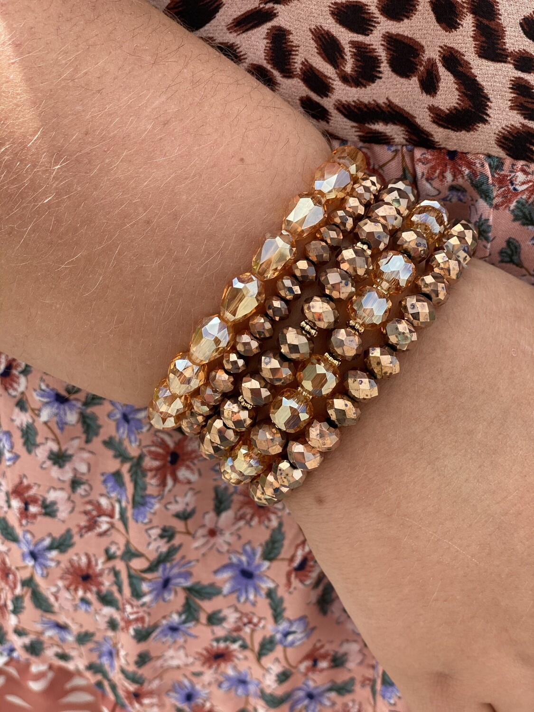 Bronze Sparkle Beaded Bracelet Set
