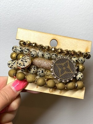 Gold Mixed LV Bracelet Set