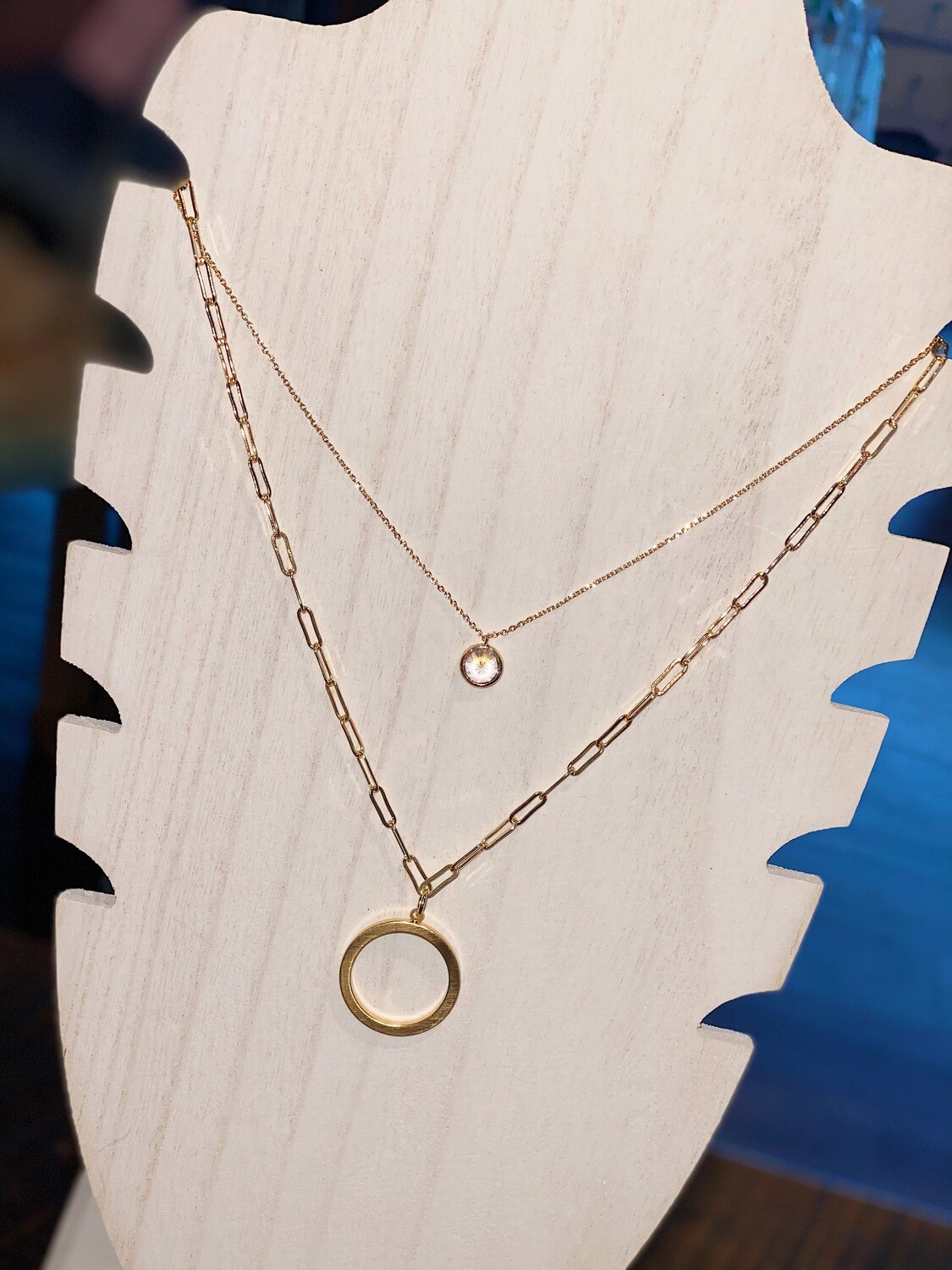 Gold Clear Rhinestone Layered Necklace