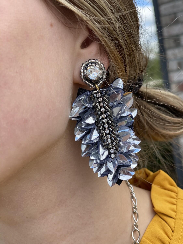 Silver Embellished Gem Earrings